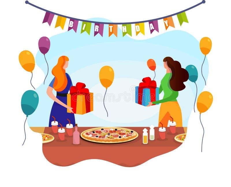 可爱的妇女交换与礼物在欢乐表附近 库存例证