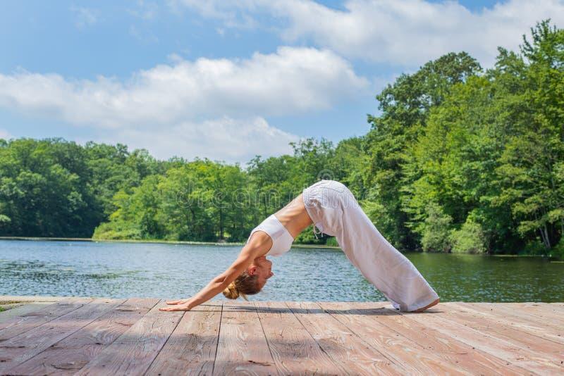 可爱的妇女实践瑜伽,做Adho Mukha Svanasana锻炼,站立在向下的狗姿势在湖附近 库存照片