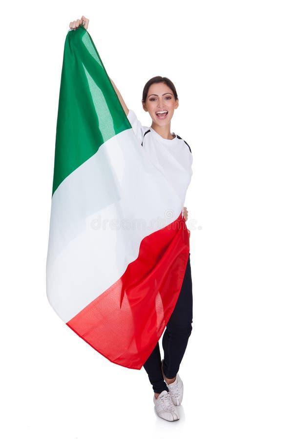 可爱的妇女显示意大利的标志 库存图片