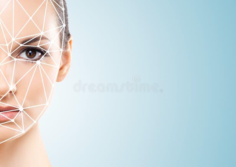 可爱的妇女画象有一个scnanning的栅格的在她的面孔 面孔id,安全,面部公认,未来技术 库存照片
