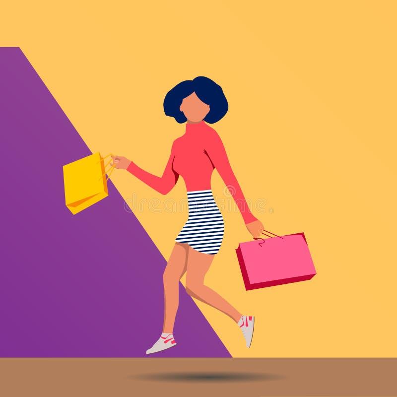可爱的妇女,时髦的五颜六色的成套装备跳跃与购物带来的,愉快,桃红色黄色背景,马球脖子,镶边微型裙子 皇族释放例证