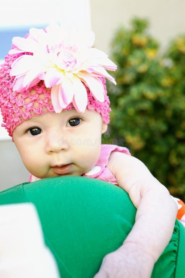 可爱的婴孩表面滑稽做 库存照片