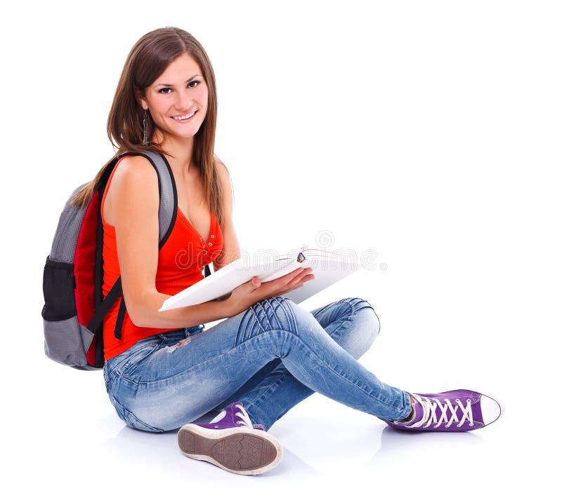 可爱的学生女孩 免版税库存图片