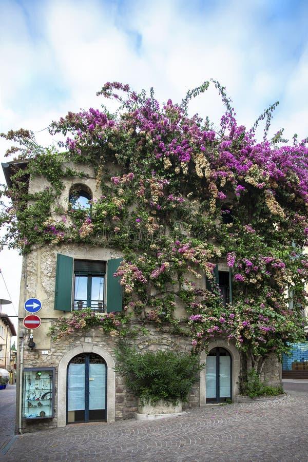 可爱的家在西尔苗内,意大利 西尔苗内五颜六色的街道视图拉戈di加尔达镇,旅游目的地在伦巴第地区  免版税库存照片