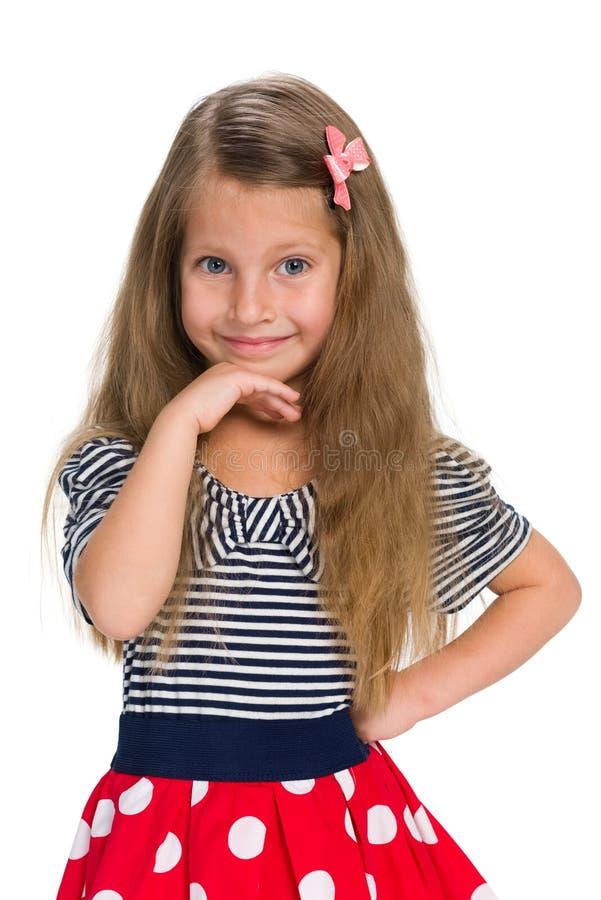 可爱的小女孩认为 库存图片