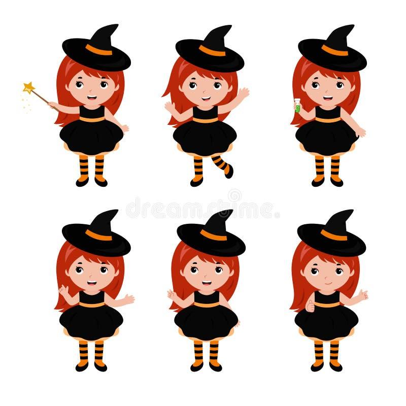 可爱的小的巫婆字符用不同的姿势 狂欢节服装威尼斯 向量 库存例证