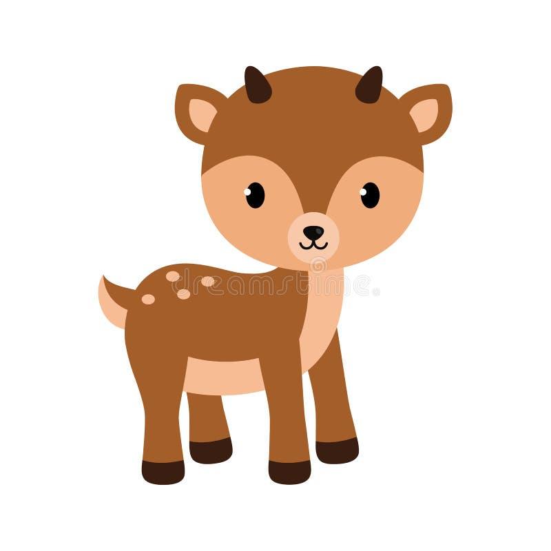 可爱的小的鹿 在平的样式的传染媒介例证 库存例证
