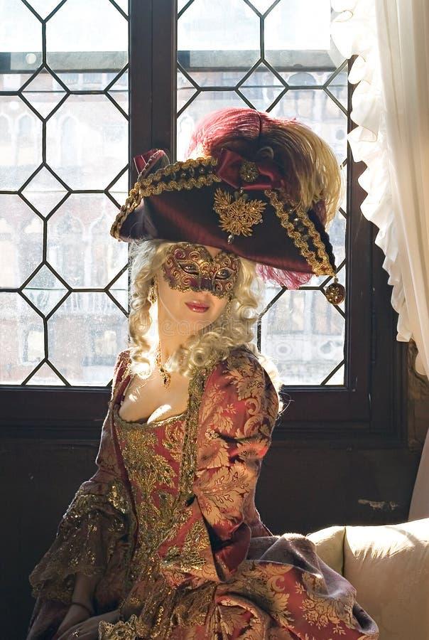 可爱的屏蔽贵族妇女 图库摄影