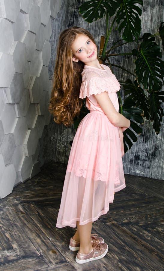 可爱的微笑的女孩儿童女小学生画象公主礼服的 免版税库存照片