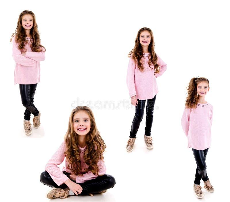 可爱的微笑的女孩孩子照片画象的汇集隔绝了 免版税图库摄影