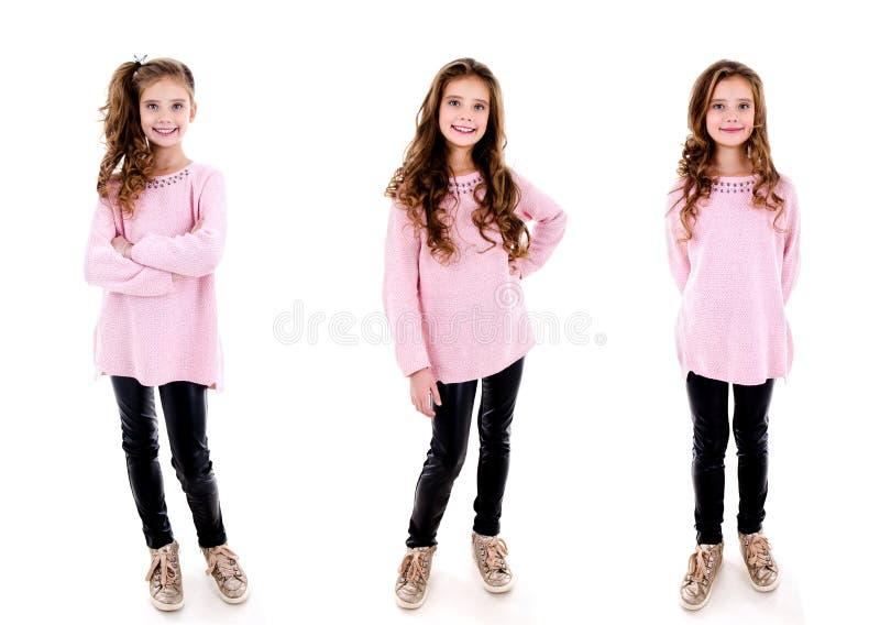 可爱的微笑的女孩孩子照片画象的汇集隔绝了 库存图片