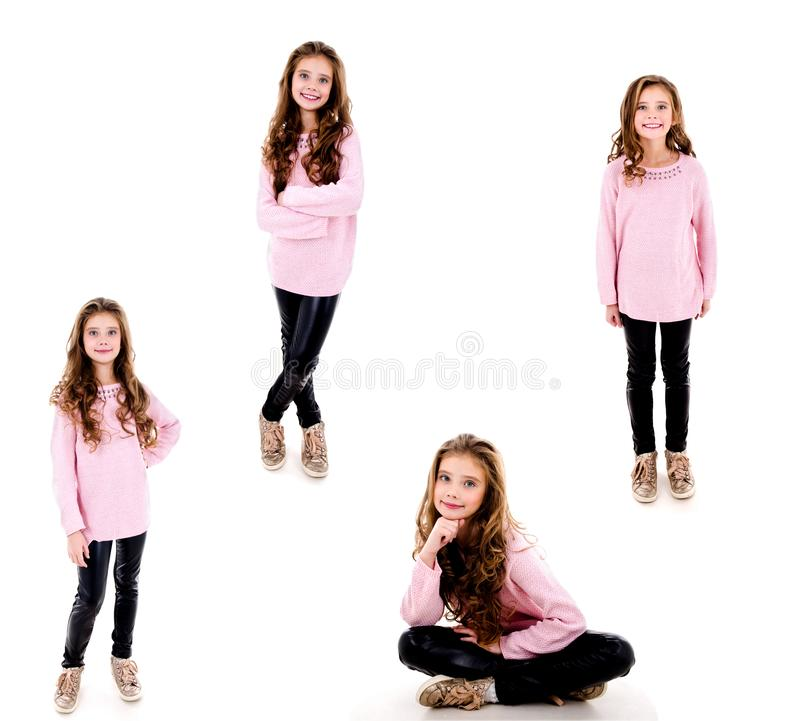 可爱的微笑的女孩孩子照片画象的汇集隔绝了 库存照片