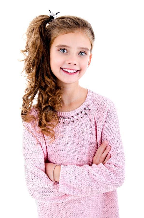 可爱的微笑的小女孩孩子画象被隔绝 免版税库存照片