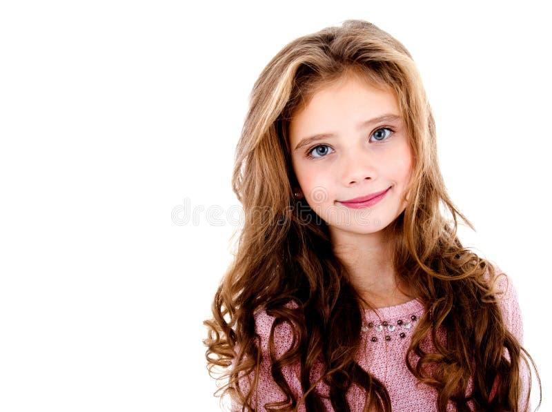 可爱的微笑的小女孩孩子画象被隔绝 免版税库存图片