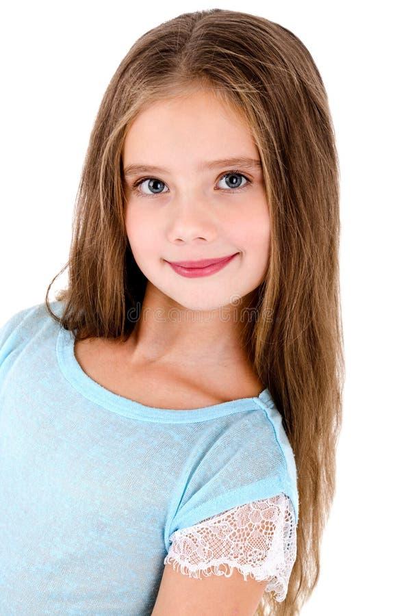可爱的微笑的愉快的小女孩孩子画象被隔绝 库存照片