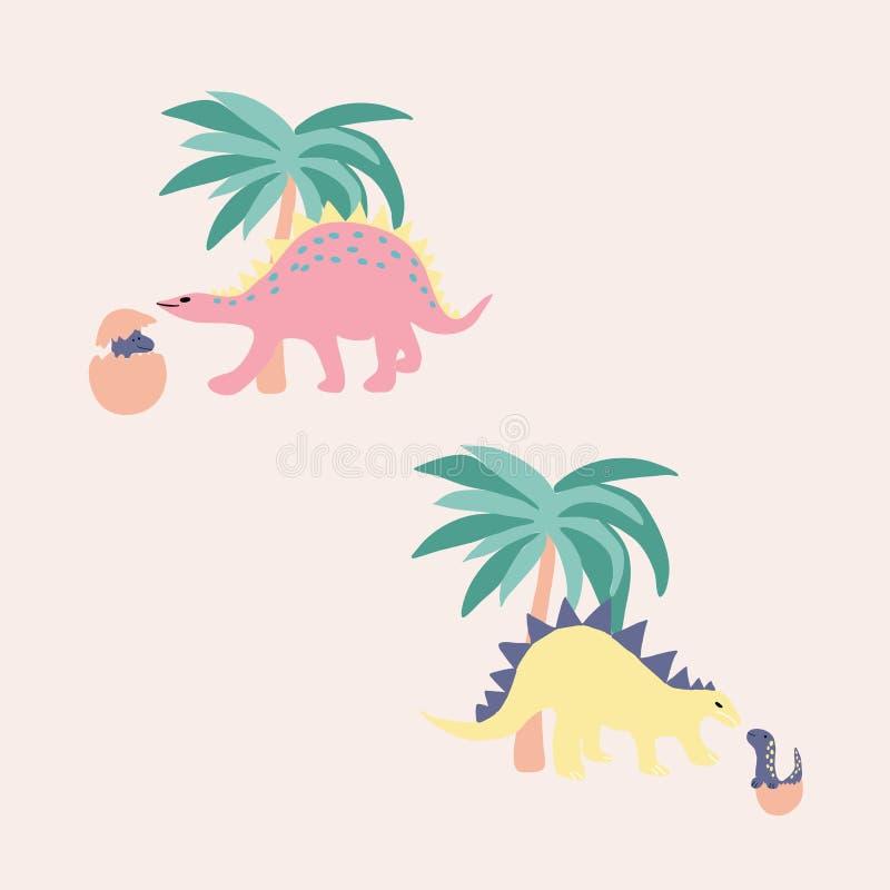 可爱的恐龙和棕榈树,矢量图插图 皇族释放例证