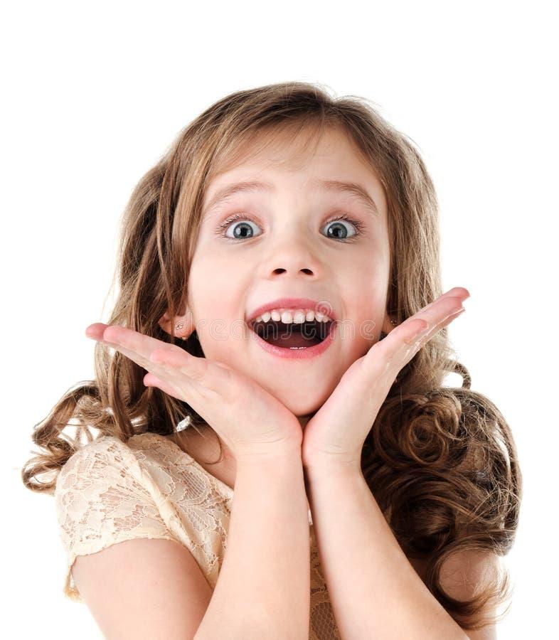 可爱的惊奇的小女孩画象  免版税库存照片