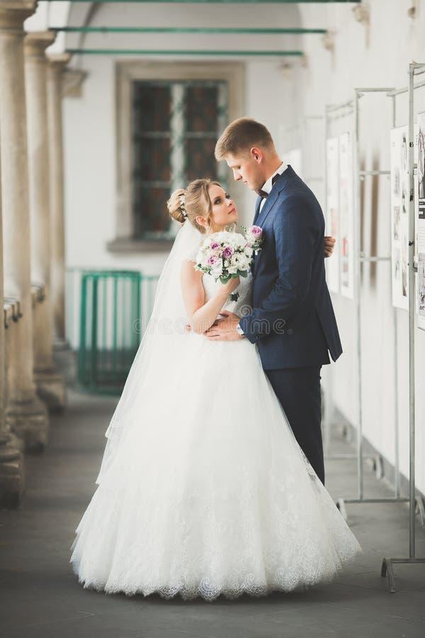 可爱的愉快的婚礼夫妇,有摆在美丽的城市的长的白色礼服的新娘 图库摄影