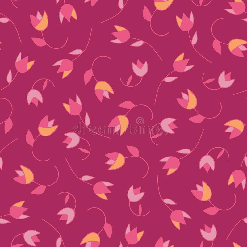可爱的摘要传染媒介花卉无缝的样式郁金香 时髦手拉的纹理 现代抽象设计为,纸 皇族释放例证