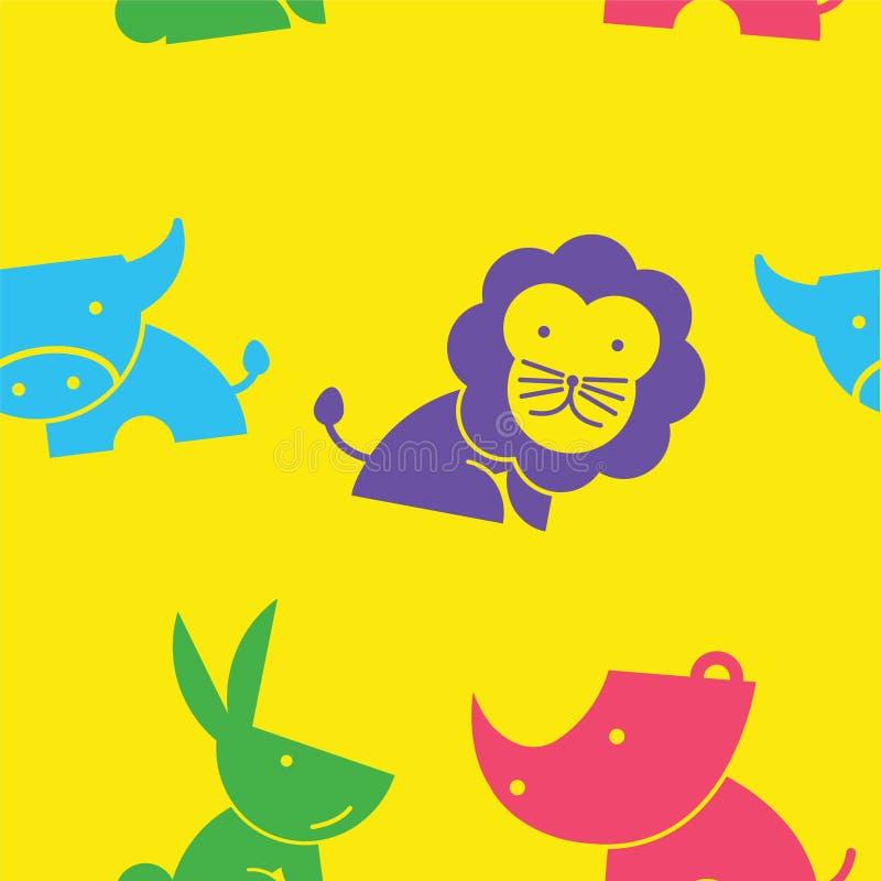 可爱的无缝的样式野生生物动画片在黄色背景中 适用于动物恋人创造样式在缎带包装和网站 皇族释放例证