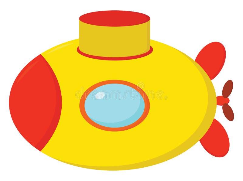 可爱的橙色和黄色卡通潜艇矢量图或彩色插图 向量例证