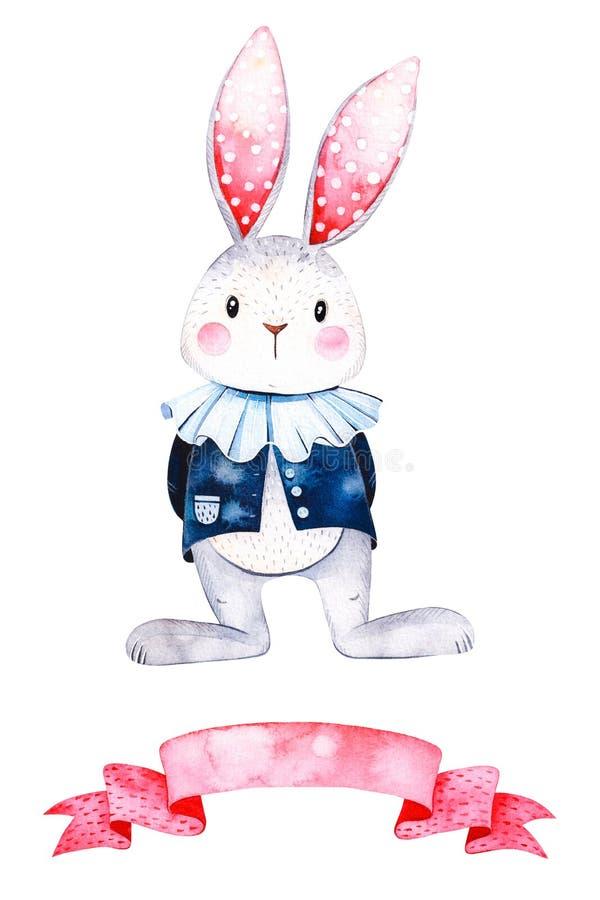 可爱的水彩例证用逗人喜爱的白色兔子和丝带 向量例证