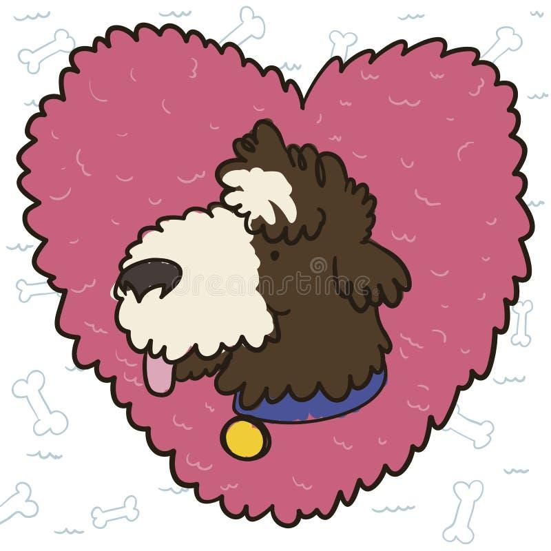 可爱的水猎狗在毛茸的心脏,传染媒介例证 皇族释放例证