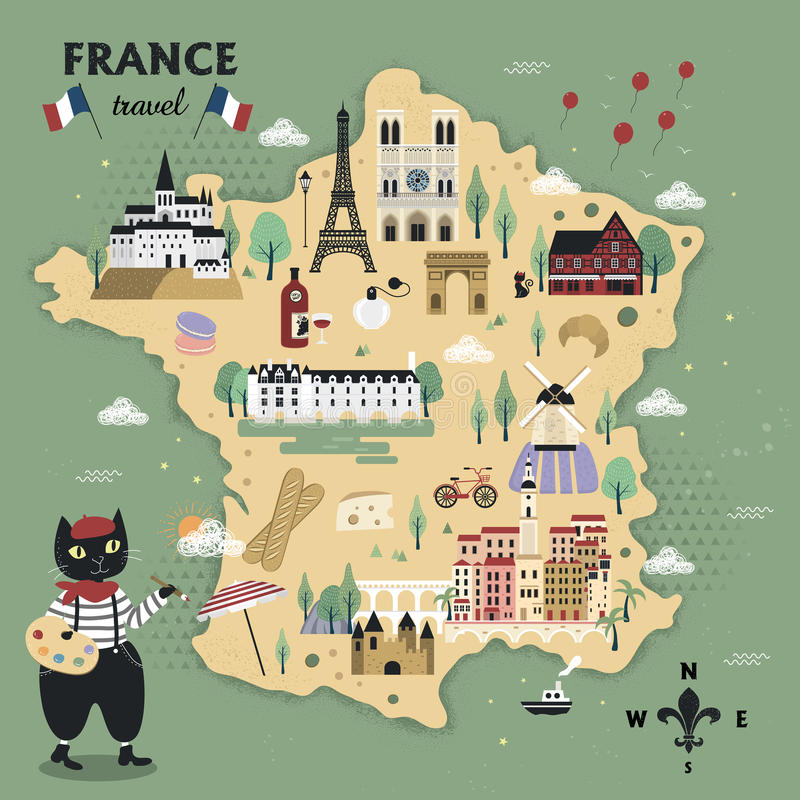 可爱的法国旅行地图 库存例证