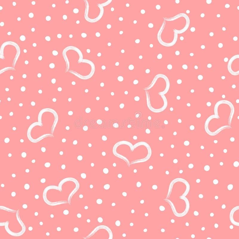 可爱的浪漫无缝的样式 重复的用手被画的心脏和圆的小点 向量例证