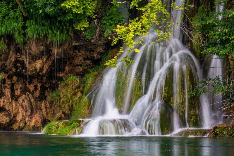 可爱的瀑布在普利特维采湖群国家公园 免版税库存图片