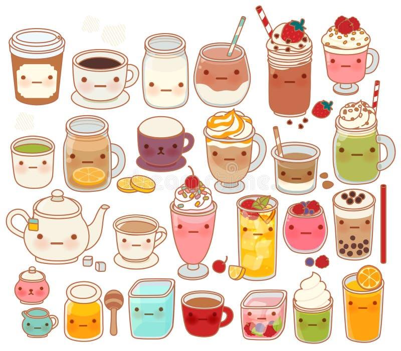 可爱的热和冷的饮料象,逗人喜爱的茶,可爱的牛奶,甜咖啡, kawaii圆滑的人,娘儿们matcha绿茶的汇集 皇族释放例证
