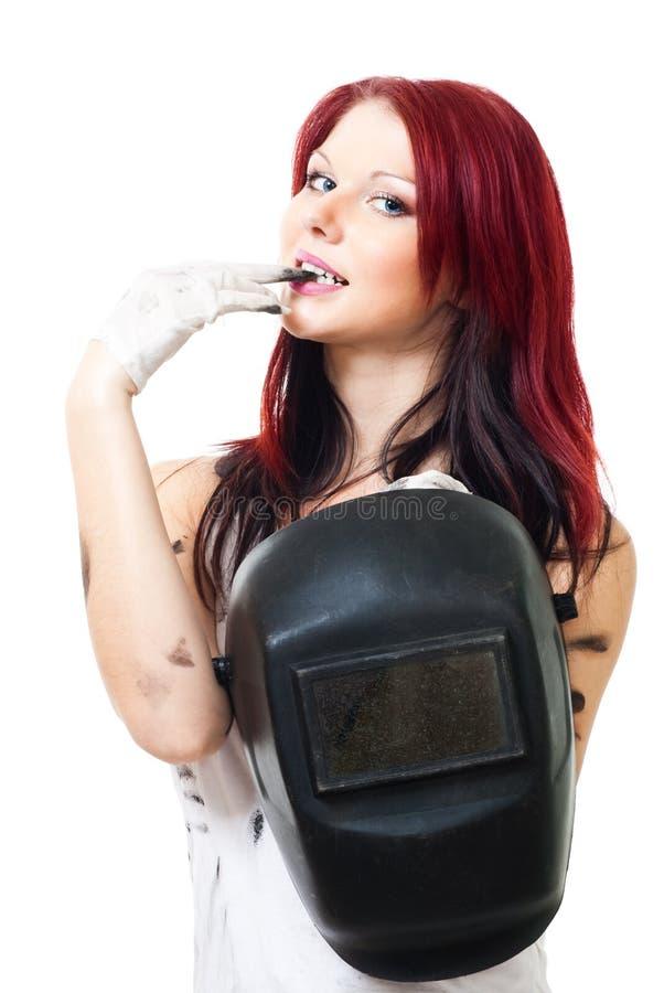 可爱的焊工妇女 免版税库存照片