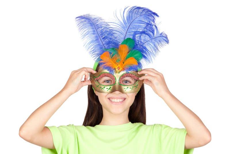 可爱的狂欢节女孩威尼斯式少许的屏&# 免版税库存图片