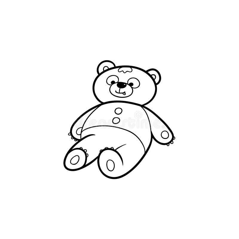 可爱的玩具熊玩具,在白色背景隔绝的平的动画片传染媒介例证黑白图画图片