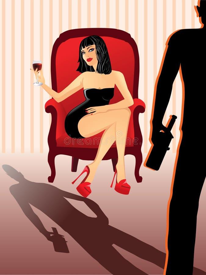 可爱的玻璃酒妇女 皇族释放例证