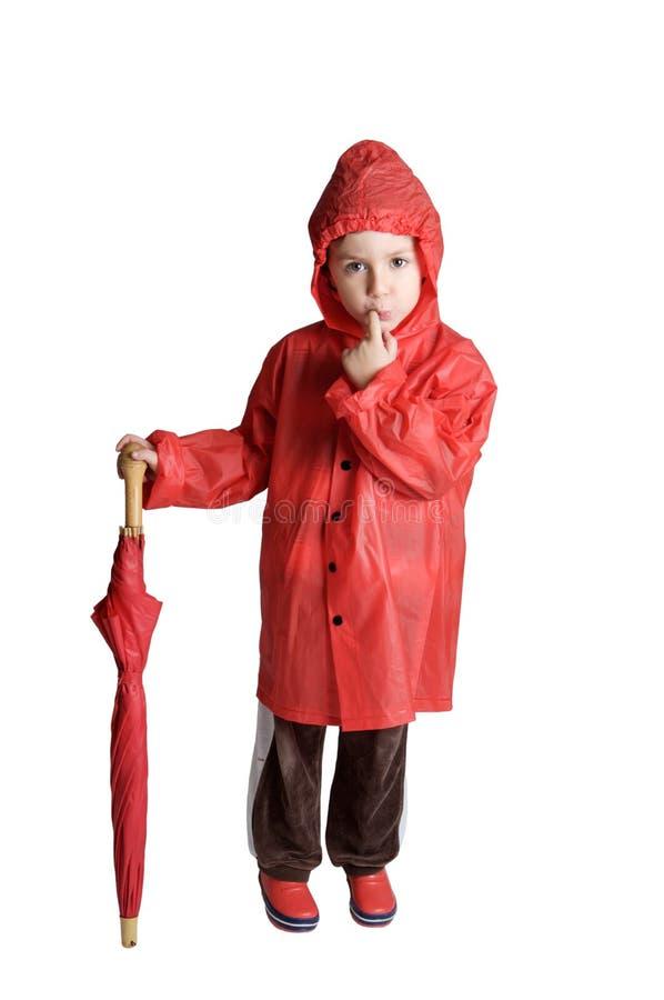 可爱的男孩伞 库存图片