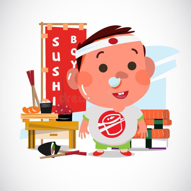 可爱的男孩用寿司 字符设计 寿司恋人概念- 向量例证