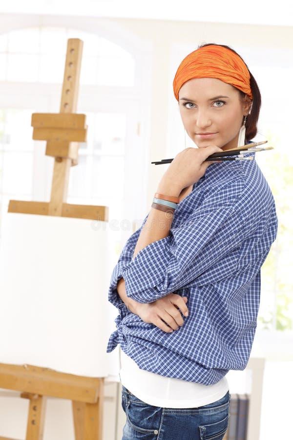 可爱的画家妇女 库存图片