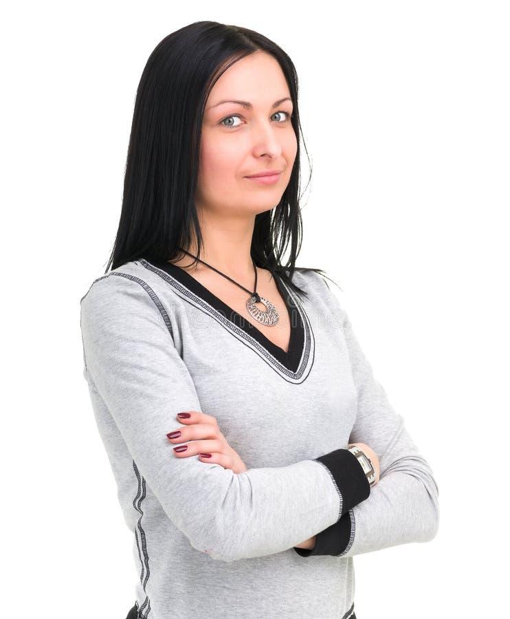 可爱的白种人微笑的妇女画象有copyspace的 库存照片