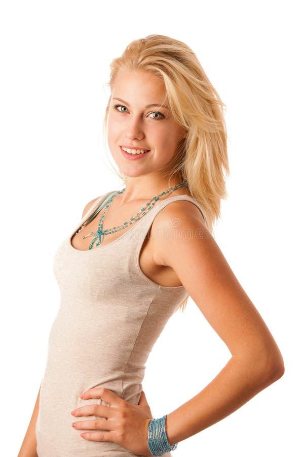 可爱的白肤金发的妇女秀丽画象  库存照片