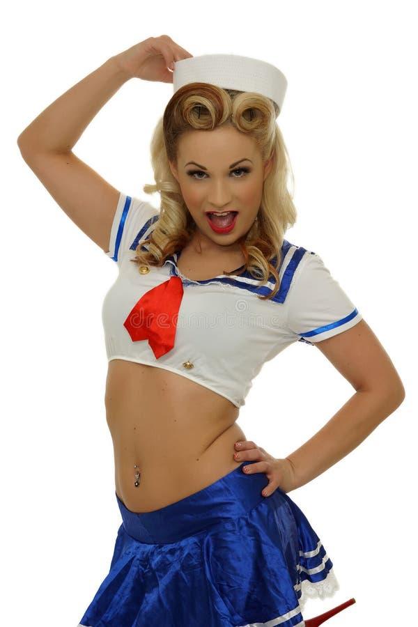 可爱的白肤金发的水手女孩 库存图片