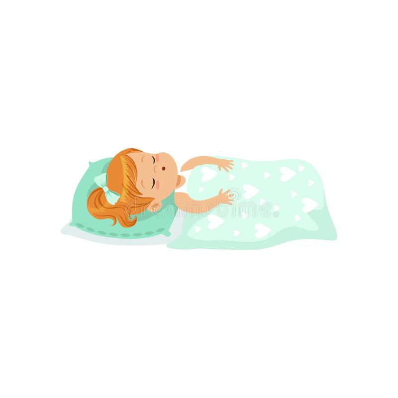 可爱的睡觉在她的床漫画人物传染媒介例证的红头发人小女孩 皇族释放例证