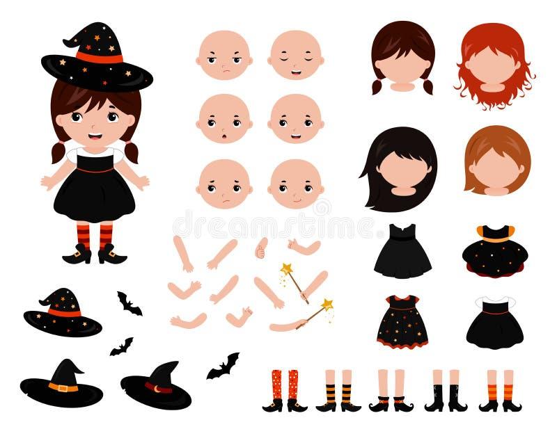 可爱的矮小的巫婆建设者 万圣夜服装 向量 皇族释放例证
