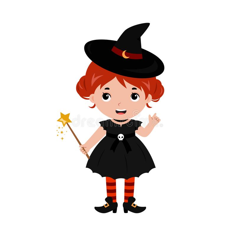 可爱的矮小的巫婆 狂欢节服装威尼斯 向量 库存例证