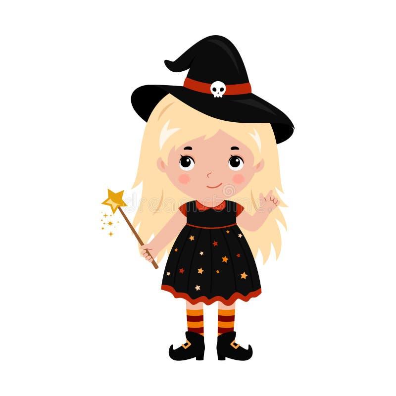 可爱的矮小的巫婆 狂欢节服装威尼斯 向量 向量例证