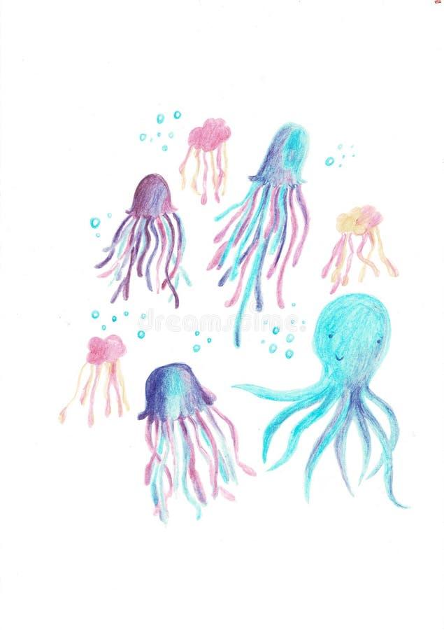 可爱的章鱼、乌贼和水母字符集合 库存例证