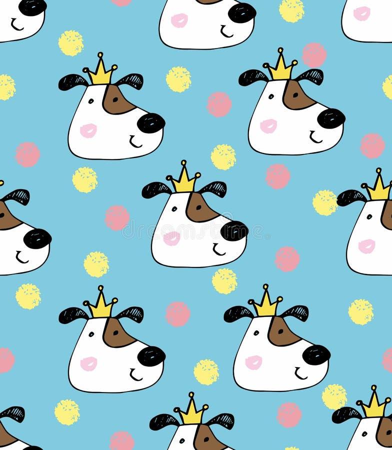 可爱的纹理 与逗人喜爱的狗的手画无缝的样式 在背景的水彩明亮的动画片狗 免版税库存图片