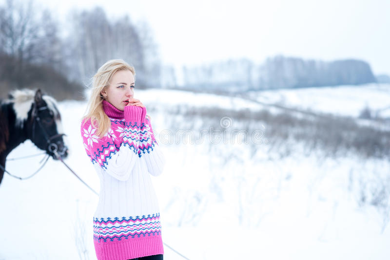 可爱的美丽的少妇在时兴的pullovere冬天 库存图片