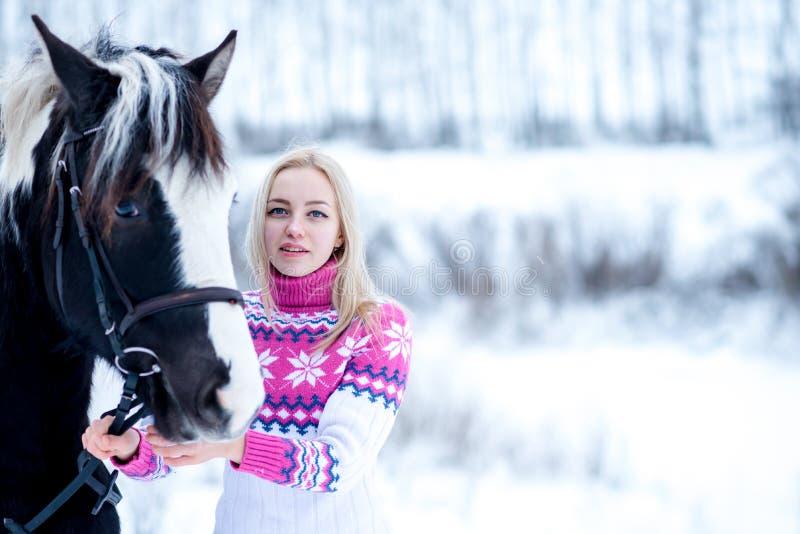 可爱的美丽的少妇在时兴的pullovere冬天 免版税库存照片