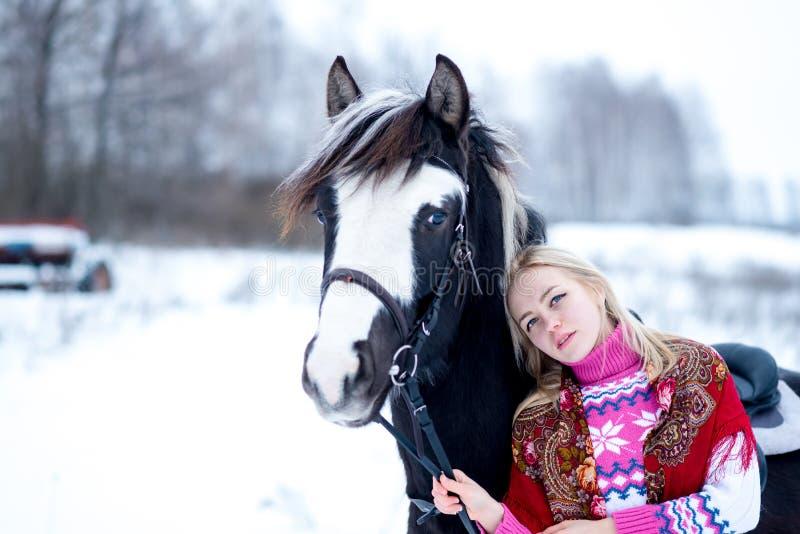 可爱的美丽的少妇在时兴的pullovere冬天 免版税图库摄影